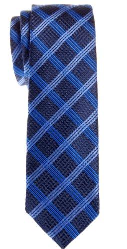Retreez Cravate maigre en microfibre à carreaux vintage - Bleu - Taille Unique