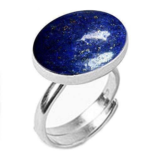 GemsOnClick Natural Lapis Lazuli Adjustable Ring Silver Plated Gemstone Rashi Ratan- Adjust Size Q to Z (UK)