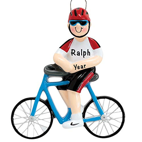 Personalized Christmas Ornaments Guy Cycling On Bike Decor – Charming 2020 Ornament Holiday Decorations Customized Gifts for Sports Fans – Polyresin Cycling Ornaments Decorations for Christmas Tree