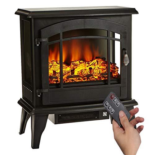 ALTERDJ Elektrokamin Kaminofen Flammeneffekt 1800W Überhitzungs-Schutz Metall Glas Schwarz 50 x 28 x 58 cm
