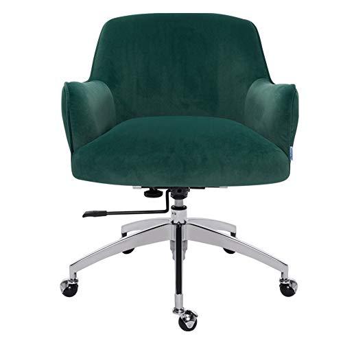 Warmiehomy Modern Office Desk Chair Velvet -Armchair Swivel Office Computer Chair Height Adjustable Chair For Office Home Living Room Bedroom Green 63.5x70x83.5CM