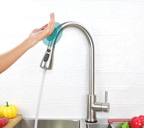Fregadero De La Cocina Grifo Táctil Sensor Inteligente Grifo Extraíble Mezclador De Agua Fría Y Caliente Grúa Automática Grifo Monomando De Instalación De Cubierta E