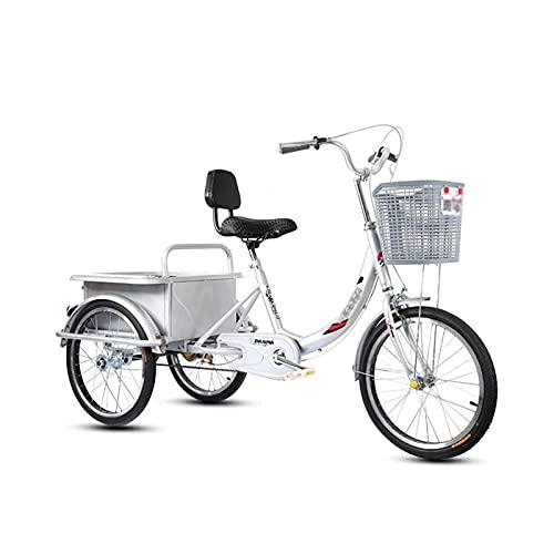 OHHG Bicicleta Adultos, Triciclo Adultos pequeño, Transporte Ligero, Bicicleta Crucero Tres Ruedas Cesta Grande Personas Mayores, Mujeres, Hombres