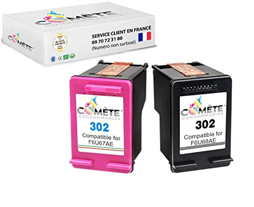 Cometa 302 - Cartuchos de tinta compatibles con HP 302 para impresora HP DESKJET 1110 2132 2134 3630 3631 3632 3633 3634 3638 HP Envy - (F6U67AE + F6U68AE) 1 negro + 1 color