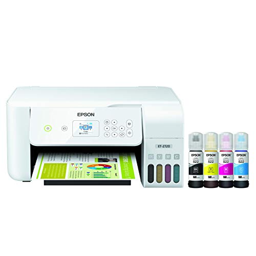 Epson EcoTank ET-2720 Wireless Color All-in-One Supertank Printer with Scanner and Copier - White (Renewed)
