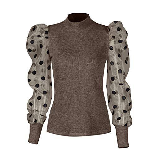 Sllowwa Damen Langarmshirts Perspective Punkt Net Garn Bluse Spitze Spleißen Mode O-Ausschnitt Puffärmel Oberteile Pullover Streetwear T-Shirt Tops