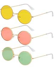 Haichen 3 paar ronde hippie zonnebril jaren 60 John Lennon stijl omcirkelde gekleurde bril hippie kostuum accessoires