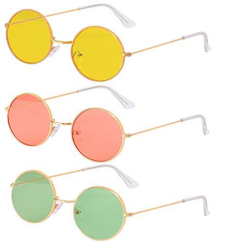 Haichen 3Pairs Round Hippie Occhiali da sole anni '60 Style cerchiati occhiali colorati Accessori costume Hippie (Verde + Giallo + Rosso)