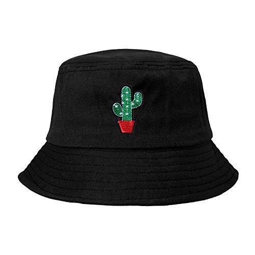 ZLYC Unisex Sommer Süß Eimerhut Fischerhüte, Kaktus schwarz, Einheitsgröße