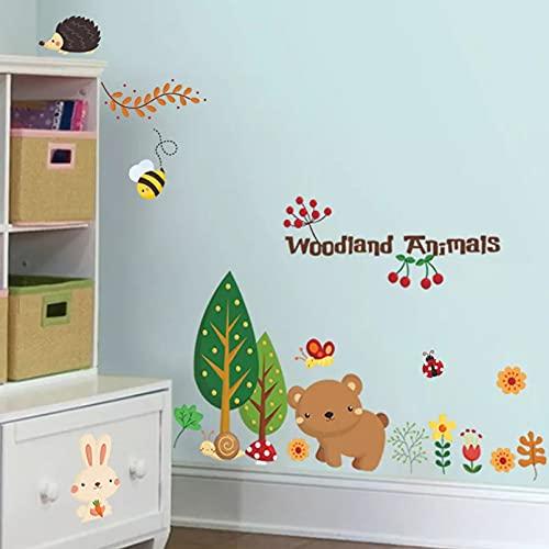 Pegatinas de pared de animales de bosque de dibujos animados para habitación de niños decoración del hogar papel tapiz de arte de pared variedad de pegatinas de guardería de animales