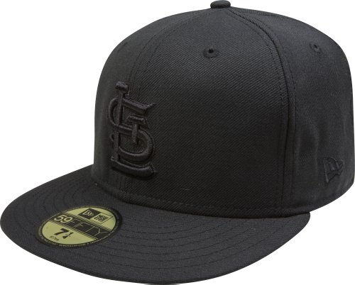 MLB St Louis Cardinals Black on Black 59FIFTY Fitted Cap, 7 3/8