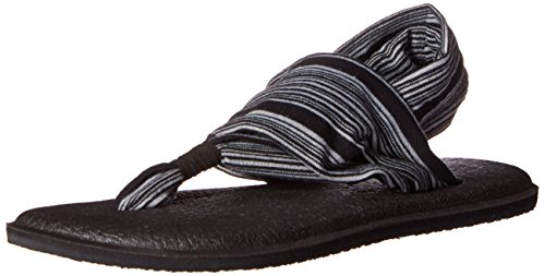 Sanuk Damen Yoga Sling 2 Sandale, Black White Jersey, 42 EU