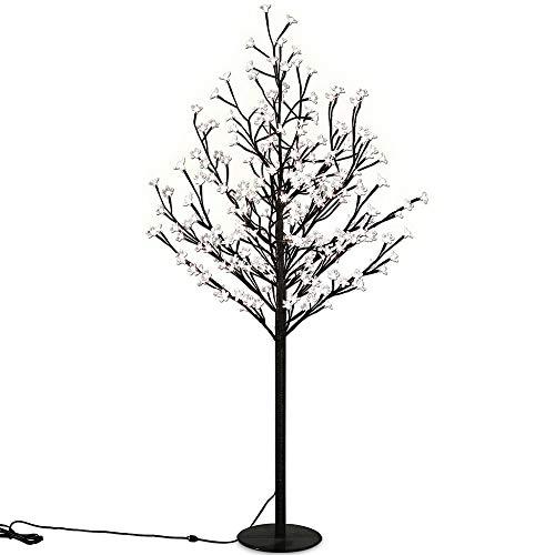 Deuba Arbre Cerisier Lumineux 200 LEDs 180cm Intérieur Extérieur Lampe sur Pied Originale Lampe décorative Décoration fêtes