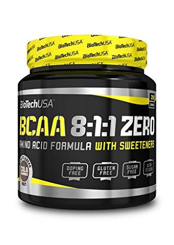 BioTech USA BCAA 8:1:1 ZERO - Polvere aromatizzata e senza zucchero con un maggiore contenuto di L-Leucina,250 g, Cola