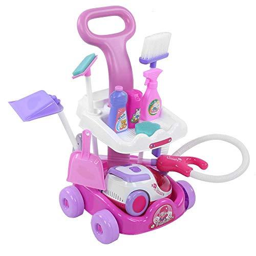 Hoseten Carrello Giocattolo di plastica simulato, Finto Giocattolo di Pulizia, Gioco di Ruolo, per Ragazze per Ragazzi(Pink)