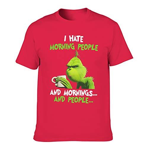 Bohohobo Grinsen Ich Hasse Morgenmenschen und Morgen und Leute Neuheit Lässig Mehrere Muster Kurzärmliges Trainingshemd für Männer und Frauen red1 m