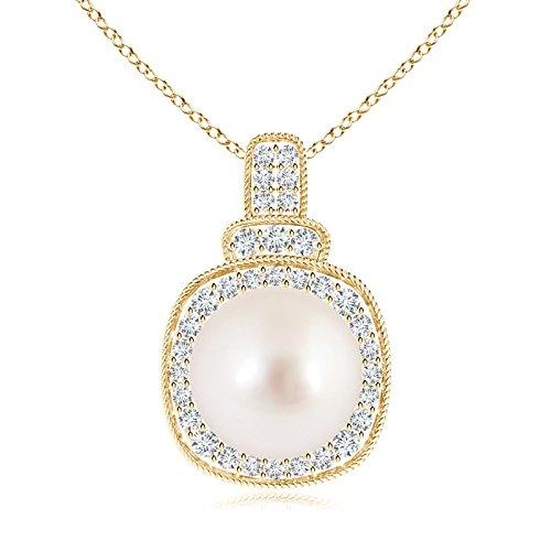 rope-edged South Sea Cultured Pearl vintage collana con pendente con diamante Halo, Oro giallo, cod. ANG-P-SP0949SSPRD-YG-AAAA-10