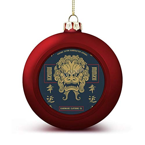 VinMea Christmas Ball Ornaments Japan Lion with Japanese Word Means Xmas Hanging Ball Decorative for Christmas Trees,Holiday Party