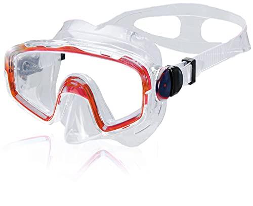 AQUAZON Shark Junior Medium Schnorchelbrille, Taucherbrille, Schwimmbrille, Tauchmaske für Kinder, Jugendliche von 7-14 Jahren, Tempered Glas, sehr robust, tolle Paßform (rot transparent)