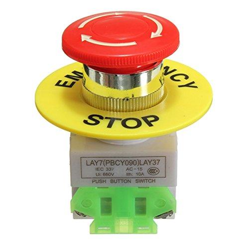 GOZAR Not-Aus-Taster Schalter No Nc Selbstverriegelung Roter Pilz Cap 660V 10A