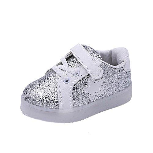 Btruely Sneaker Kinder Winter Warm Sportschuhe Baby Schuhe Star Leuchtend Kind Mode Freizeitschuhe (21, Silber)