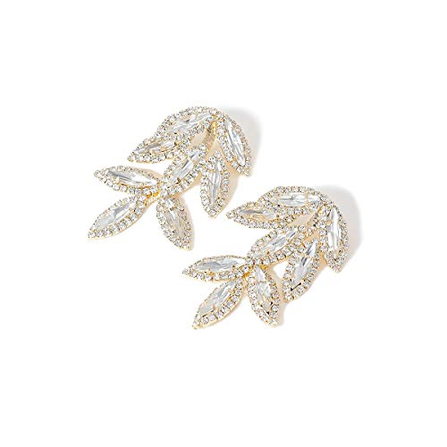 jiao Elegant Crystal Leaves Big Long Drop Earrings for Women Shiny Luxury Leaf Rhinestone Bridal Wedding Jewelry GoldColor