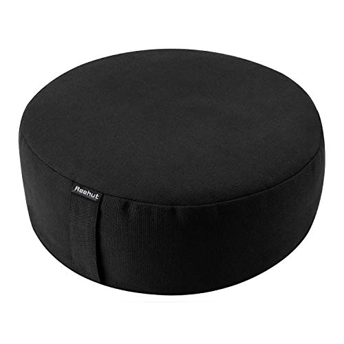 "REEHUT Zafu Yoga Meditation Cushion, Round Meditation Pillow Filled with Buckwheat, Zippered Organic Cotton Cover, Machine Washable - 4 Colors and 3 Sizes (Black, 12""x12""x4.5"")"