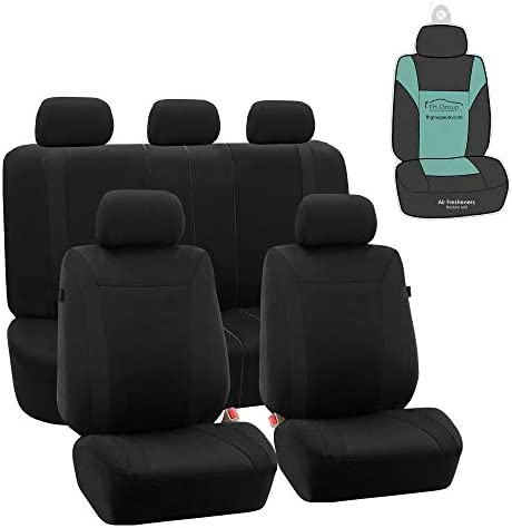 FH Group FB054115 Black Cosmopolitan Flat Cloth Full Set Car Seat Covers Airbag Compatible Split product image