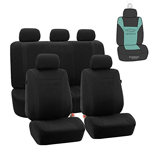 FH Group FB054115 Black Cosmopolitan Flat Cloth Full Set Car Seat Covers, (Airbag Compatible & Split Bench) w Gift, Solid Black Color -Fit Most Car, Truck, SUV, or Van