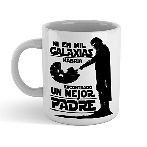 Taza Ni en mil Galaxias habría encontrado un mejor padre STAR WARS Mandalorian - Taza cerámica 350ml - Frase Motivadora Regalo Sopresa Bebé Yoda DIA DEL PADRE o cumpleaños (blanca)