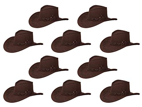 Alsino Cowboyhut Cowboy Hut 10er Set Karneval Westernhut Unisex Kostümzubehör Fasching Kunstleder Kopfbedeckung (Dunkelbraun)