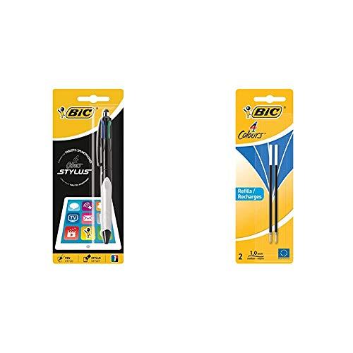 BIC 4 Stylus bolígrafos punta media (1,0 mm) - Grip Verde o Gris, Blíster de 1 Unidad + 931 778 4colours pluma recarga, 1 mm, Blister de 2 unidades, azul
