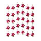 Milisten 30Pcs Mini Colgantes de Setas de Colores Lindos Adornos de Cuentas en Miniatura Fabricación de Artesanías de Bricolaje (Rosado)