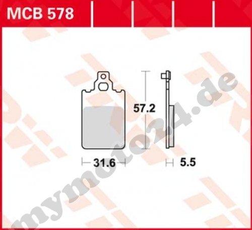 Bremsbelag TRW / Lucas MCB578, Organische Mischung mit ABE für Gilera Eaglet 50 Baujahr 1999