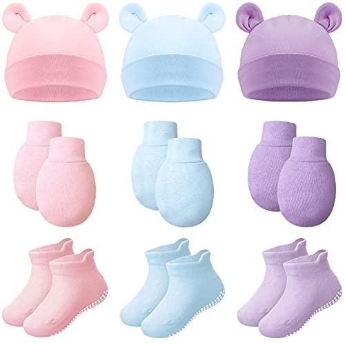 9 Piezas Set de Gorros Manoplas sin Arañazos Calcetines para Niño de 0-12 Meses