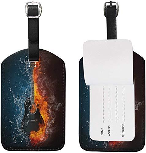 Feuerwasser-Gitarren-Gepäckanhänger für Gepäck-Koffer-Taschen-Reise-Aufkleber-Leder