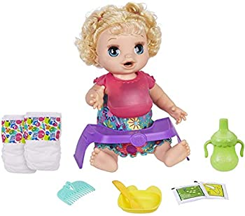 Baby Alive Happy Hungry Baby Blond Curly Hair Doll Makes 50+ Sounds & Phrases Eats & Poops Drinks & Wets for Kids Age 3 & Up Brown/A  E4894