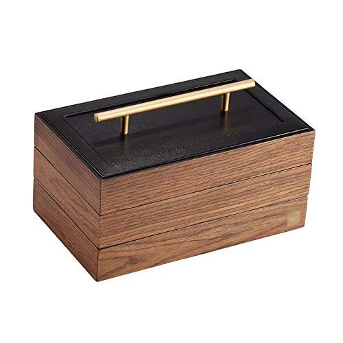 Joyería Caja de Almacenamiento Joyero de madera sólida for la joyería de las mujeres anillo armario necklacel de almacenamiento caja de regalo del organizador, la nuez de madera de color Colgador de j