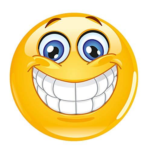 Mauspad mit Smiley-Motiv I Ø 22 cm rund I Happy Emoticon Mousepad in Standard-Größe, rutschfest I Lachen Grinsen Smile I gelb I dv_343