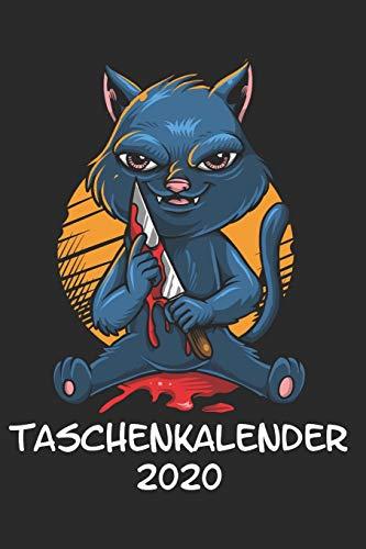 Taschenkalender 2020: Taschenkalender für Sept. 2019 bis Dezember 2020 A5 Terminplaner Wochenplaner Terminkalender Wochenkalender Organizer mit Katze ... Mörder Horror Messer Blut Killer Serienkiller