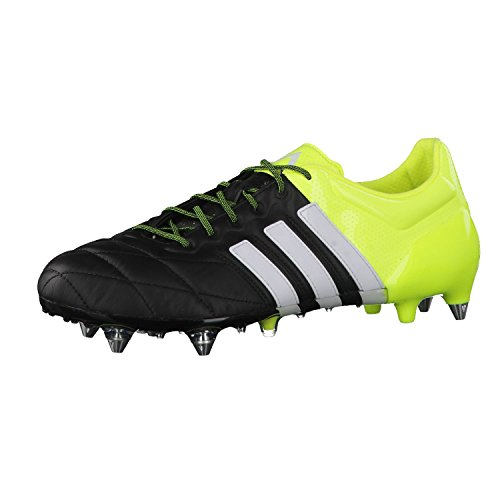 Adidas Performance Ace15.1 Sg - Scarpe da calcio da uomo, in pelle, Uomo, B32813, core black/ftwr white/solar yellow, 40 2/3 EU