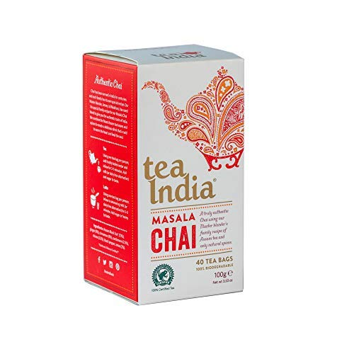 Tea India Masala Chai Biodegradable Teabags 4 x 40 (160 Teabags Total) Rainforest Alliance Certified Chai Tea