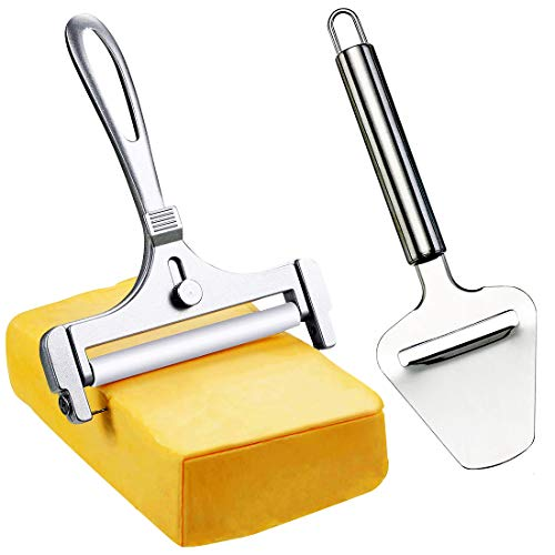 Metal Cheese Slicer with Wire - Cheese Cutter Set for Hard Cheese Block Cheese Soft Cheese - Thickness Adjustable Cheese Planes for Appetizer Trays (2 Pieces)
