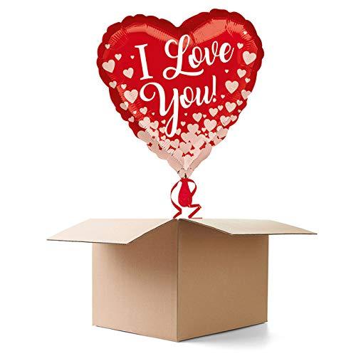CREATIV DISCOUNT Ballongrüße / Geschenkballons / Ballonversand, I Love You Herzen, 1 Ballon