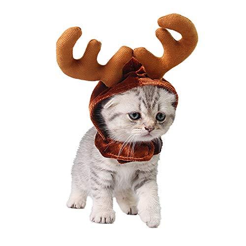 PEDOMUS Katze Kostüm Weihnachten Rentier Geweih Hut Haustier Weihnachtskostüm für Katzen und kleine Hunde (S)