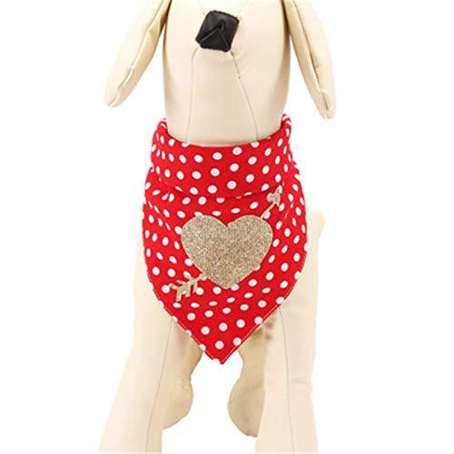 ZXJ Bufanda triangular para perro, bufanda triangular, lavable y reversible para mascotas con una circunferencia de cuello de 25-48 cm, color rojo