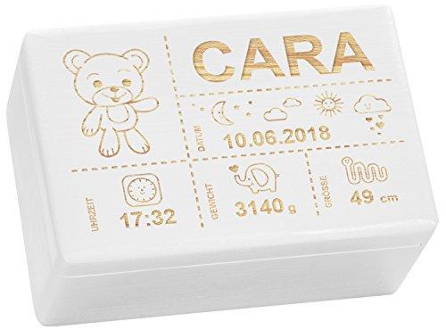 LAUBLUST Holzkiste mit Gravur - Personalisiert mit GEBURTSDATEN - Weiß, Größe M - Teddybär Motiv - Erinnerungskiste als Geschenk zur Geburt