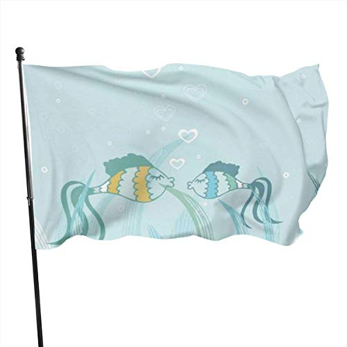 Oaqueen Flagge/Fahne, Fish Icon Flag: 3x5 FT Flag Tough The Strongest, Longest Lasting Flag National Flag Outdoor Flags