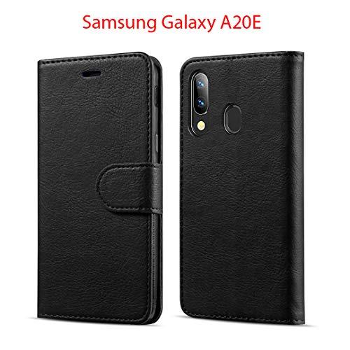 New&Teck Coque Samsung Galaxy A20E Housse Etui Portefeuille Cuir Multifonction, Fermeture Magnétique à Clapet Anti-Choc Noir