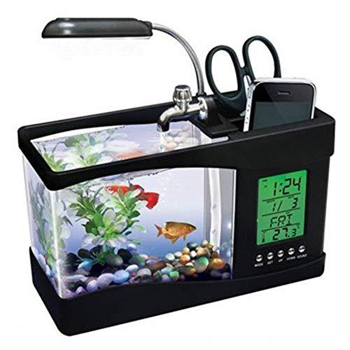Ecent Desktop-Aquarium Mini USB Aquarium Büro Multifunktions + Uhr + Lampe + Stifthalter für Aquarium Home-Office-Dekoration usw.